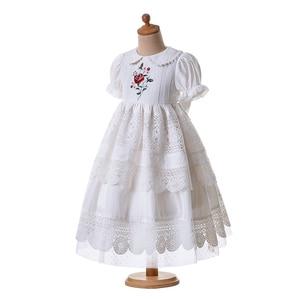Image 2 - Pettigirl biały haft kołnierzyk dla lalek kwiat dziewczyna komunia jednolity kolor, długi Party warstwy sukienka B455 (długość sukni pod kolanem)