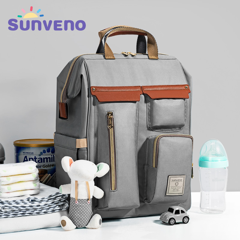 Sunveno Diaper Bag Backpack Large Capacity Baby Bag For Stroller Backpack For Moms Mummy Travel Nappy