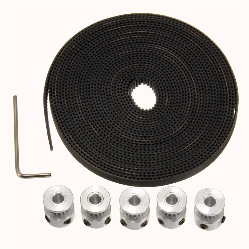 цена на 5PCS GT2 Timing Pulley 16T Bore 5mm + 5M GT2 Timing Belt Width 6mm for 3D Printer