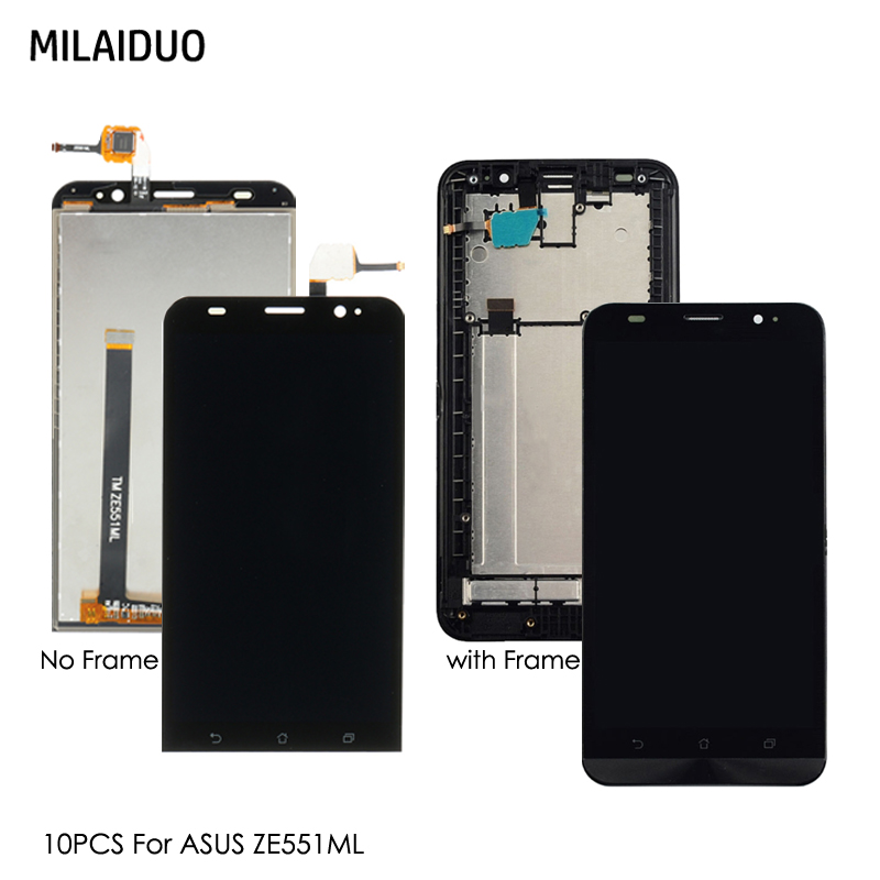 10 PCS LCD Display For Asus Zenfone 2 ZE551ML Z00A Z00AD Z00ADB Touch Screen Digitizer Full Assembly Black With Frame