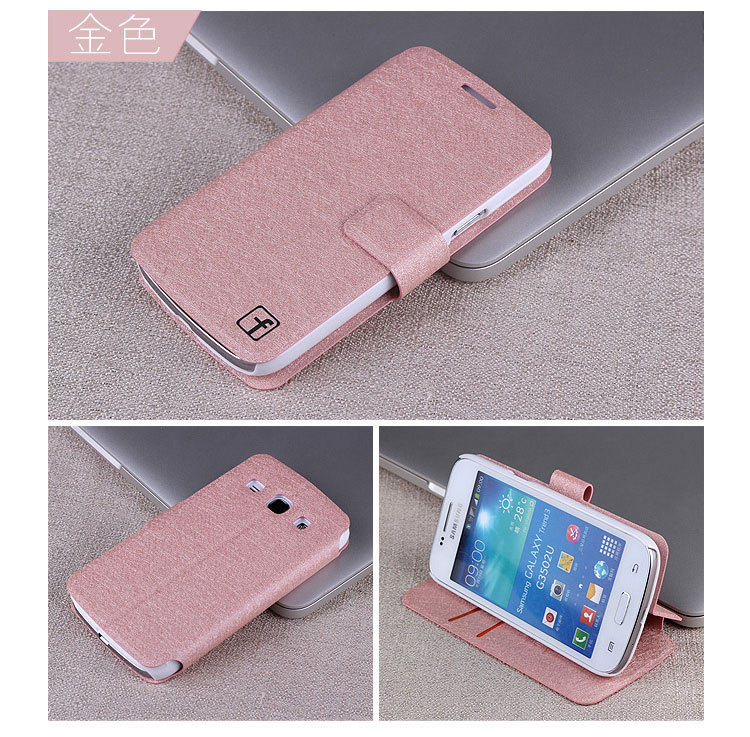 1-For Samsung Galaxy Core Plus G3502U G3502 G3508 G3509 Flip Cover Mobile Phone Bags silk Leather Covers Cases
