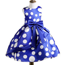 2019 Summer Princess Girl Costume Children's Dress Polka Dots Sweet kids dresses for girls Baby Bridesmaid Dresses arrival new 2017 princess summer baby girls black dress white polka dots children fashion dresses for little girl dresses