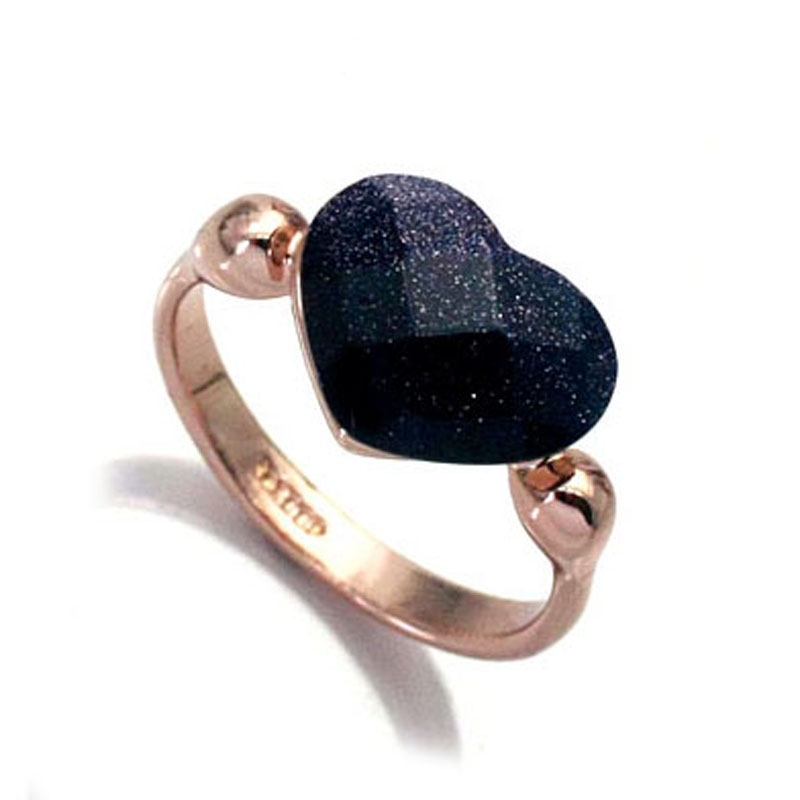 Wedding & Engagement Jewelry 100% Quality Ociki Crystal Rings Heart Shape Blue Sands Black Rose Gold Color Crystal Jewelry Wholesale For Women Girl Gift Drop Shipping Strengthening Waist And Sinews Engagement Rings