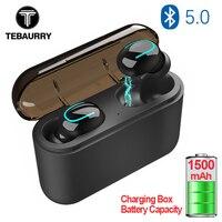 TEBAURRY TWS беспроводные bluetooth-наушники 5,0 стерео наушники-вкладыши Беспроводные наушники с зарядным устройством 1500 мАч power bank