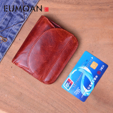 EUMOAN Original retro handmade leather short wallet small men and women vertical old card package youth thin sect
