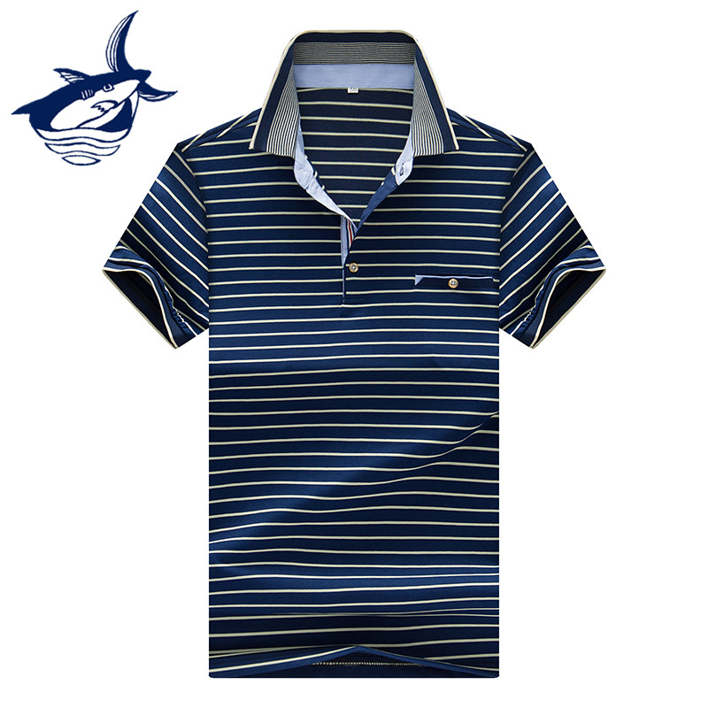 2018 New Striped Polo Shirt Men High Quality Cotton Breathable Anti-Pilling Casual & Business Tace & Shark Brand Camisa Polo