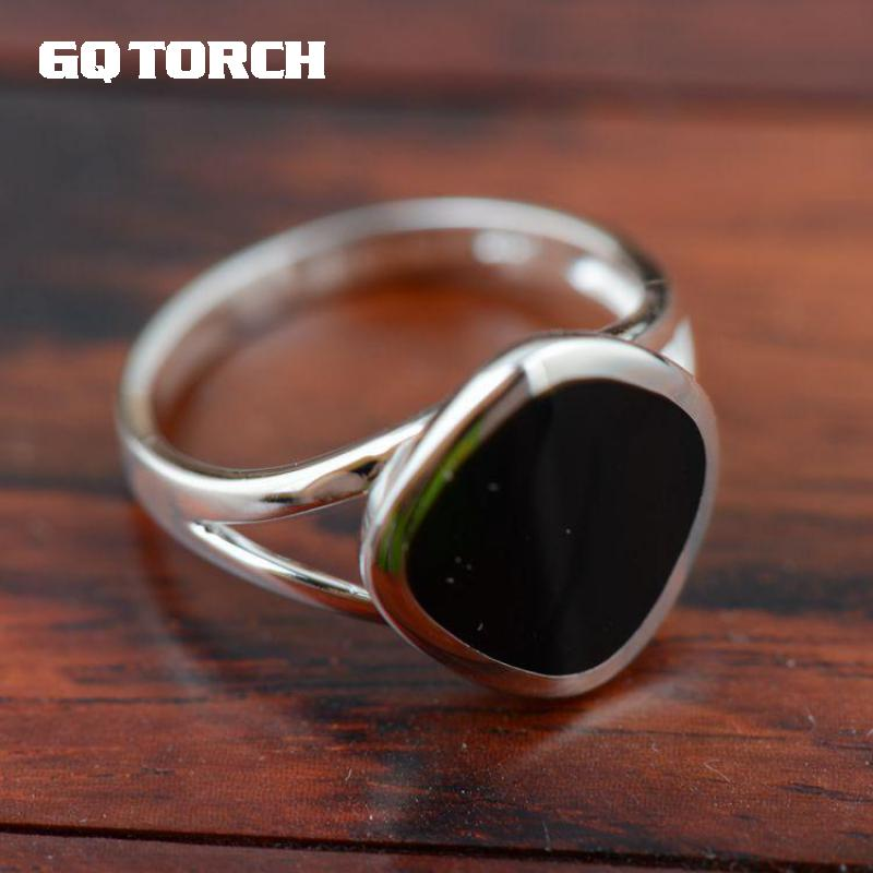 925 Sterling Silver Gemstone Rings For Women Natural Black Onyx Stone Mirror Light Processing Simple Design