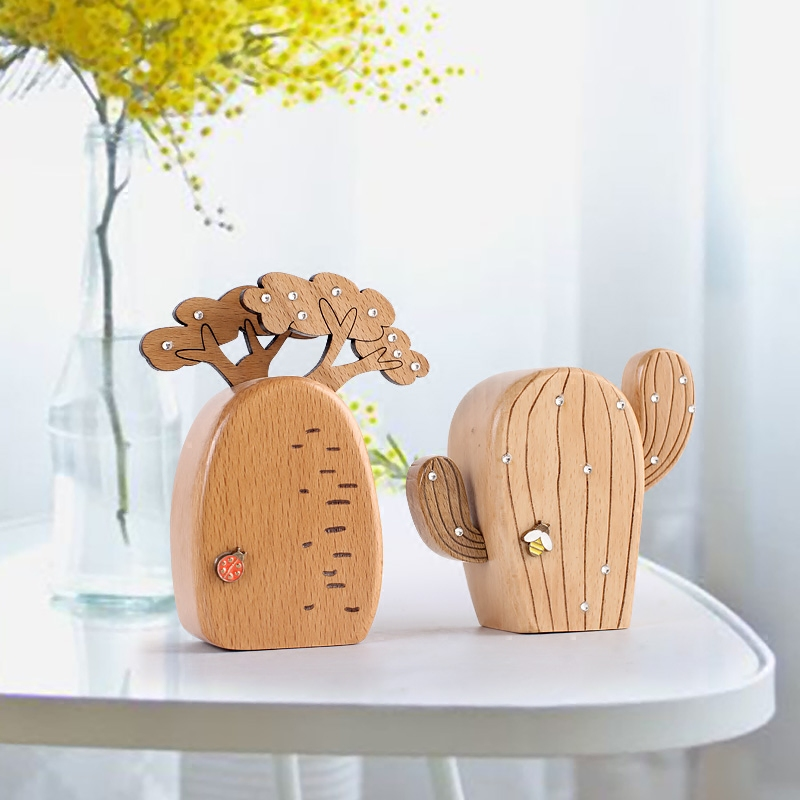 Fun wooden cactus music box Exquisite Plant Sky City Music Box Great Gift