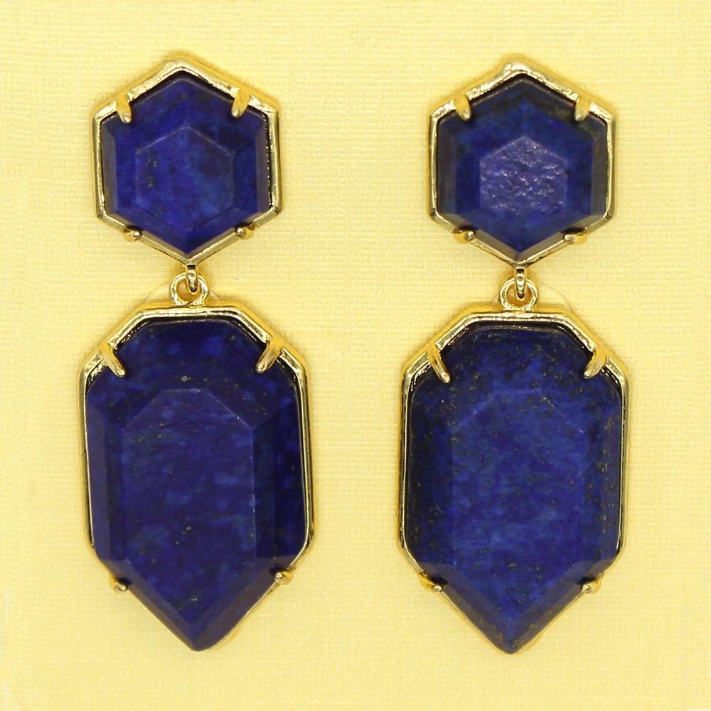 Trendy-beads New Stylish Light Yellow Gold Color Layer Polygon Shape Dangle Earrings Lapis Lazuli Jewelry