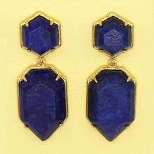 Trendy-beads New Stylish Light Yellow Gold Color Layer Polygon Shape Dangle Earrings Lapis Lazuli Jewelry