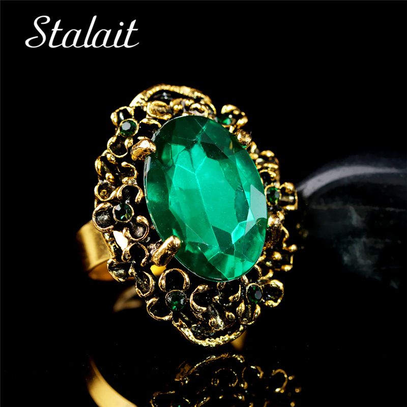 Perunggu antik Vintage Warna Emas Hijau Kristal Batu Rhinestones Cincin Jari Adjustable Perhiasan Wanita Pernikahan Mode 1105