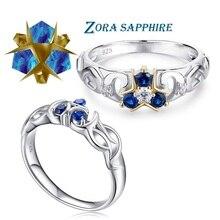 Legenda Zelda oddech dzikości 925 Sterling Silver Zora Sapphire pierścionek zaręczynowy