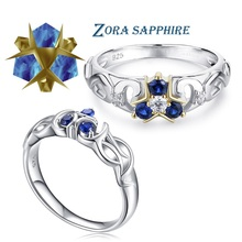 The Legend of Zelda Breath of the Wild 925 Sterling Silver Zora Sapphire Engagement Ring