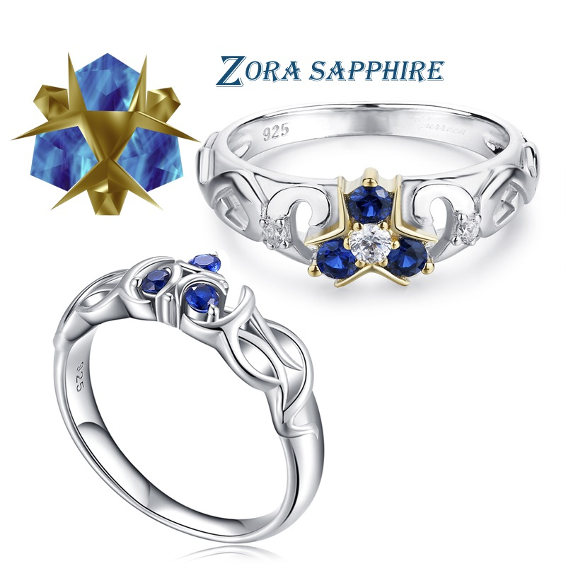 The Legend of Zelda Crystal 925 Sterling Silver Zora Zoras Sapphire Ocarina of Time Engagement RingRings