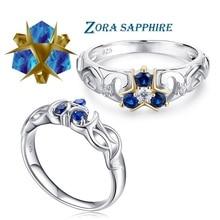 The Legend of Zelda di Cristallo 925 Sterling Silver Zora Zora delle Zaffiro Ocarina of Time Anello di Fidanzamento