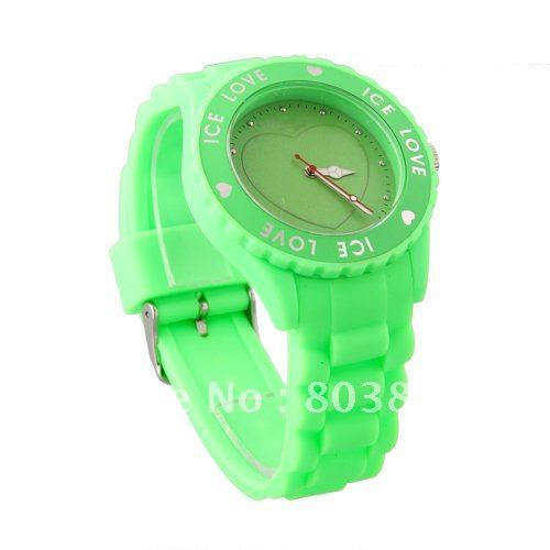 Popular Silicone watch ,  love wrist watch 10 colors 20pcs/lot+Free shipping