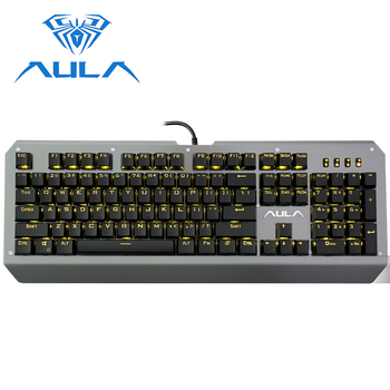 AULA Wired Mechanical Keyboard LED Backlit Metal Panel Optical Switches for Laptop Computer PC Game Gamer Gaming Keyboard #2039