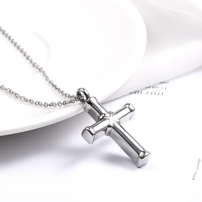 Stainless Steel Cross Religious Memorial Cremation Ash Urn Pendant Keepsake
