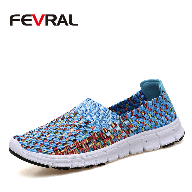 FEVRAL Brand Woman Woven Shoes Spring Flats Handmade Breathable Shallow Mouth Lazy Loafers Slip Resistant Soft Casual Shoes