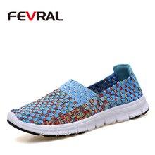 FEVRAL marque femme tissé chaussures printemps appartements à la main respirant bouche peu profonde paresseux mocassins antidérapant doux chaussures décontractées