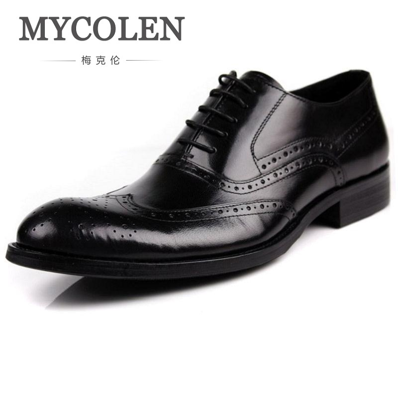 MYCOLEN Bullock Carved Leather Men Dress Shoes Pointed Toe Oxfords Lace Up Designer Luxury Shoes Men Zapato Hombre Italian