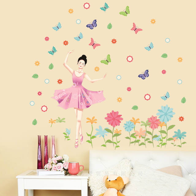 Online Pretty Ballerina Wall Sticker Pvc Material Diy Erfly Flowers Decals For Children S Room Bedroom Decor Aliexpress