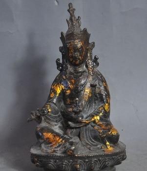 """7"""" old tibet buddhism Joss bronze gilt Padmasambhava Guru Rinpoche buddha statue"""