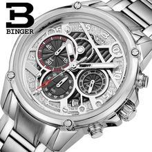 Switzerland men's watch luxury brand Wristwatches BINGER Quartz clock full stainless steel Chronograph Diver glowwatch B-6008