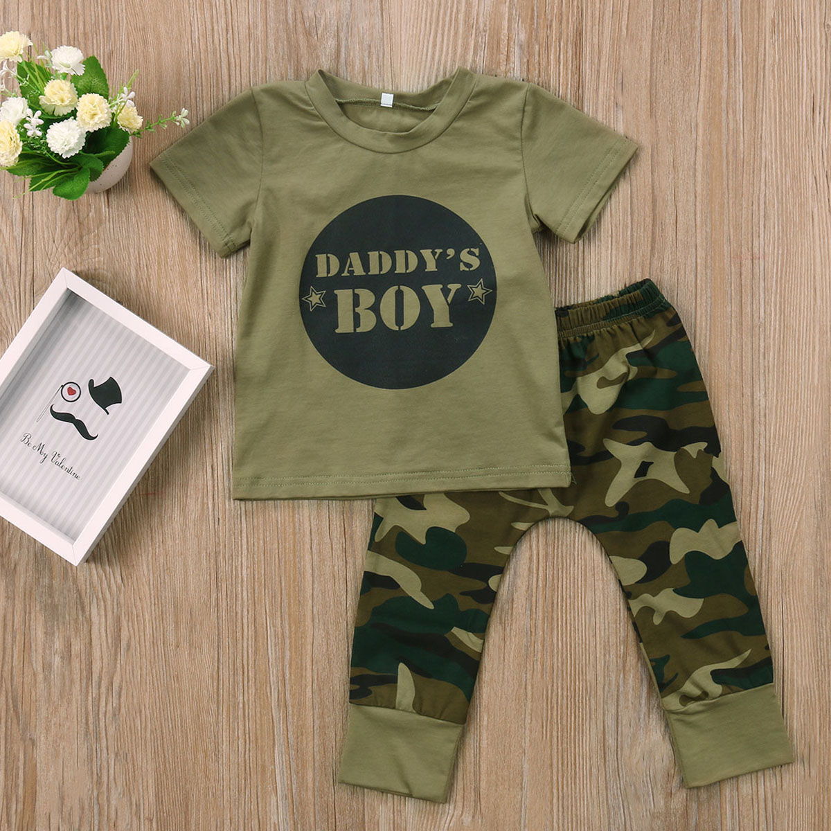 Funny Newborn Baby Boy Little Brother Romper Bodysuit+Camo Pants Outfits Clothes