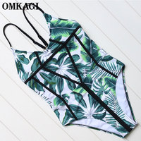 OMKAGI Brand One Piece Swimsuit Women Swimwear Sexy Push Up Bodysuit Bathing Suit Beachwear Monokini 2018