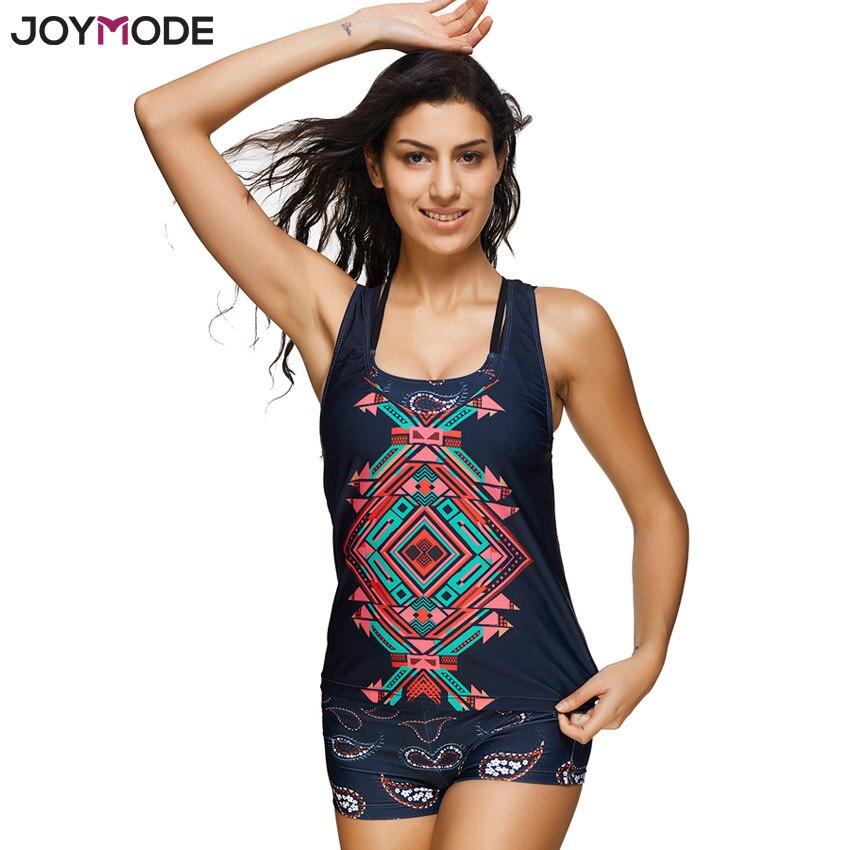 JOYMODE Womens Three Piece Tankini Sets Tops Swimwear With Boyleg Swim Short Bathing Suits Printed Swimsuit Plus Size Bikini swimsuit top