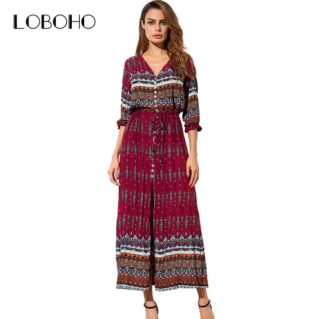 fbe6cfb03e0 Boho Style Maxi robe été 2018 mode vacances imprimé longues robes femmes  ouvert fente boutons bohème