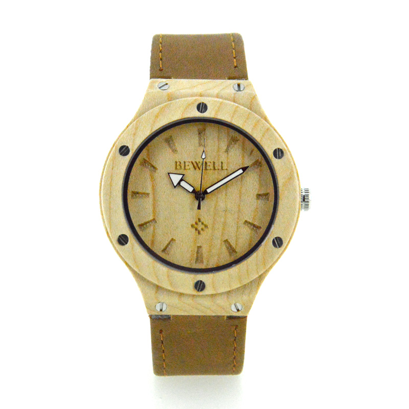 BEWELL 2017 Casual Quartz Wristwatch Wood Case Leather Band Luxury Top Brand Clock Women Watches Relogio Feminino for Gifts bewell fashion casual mens watches top brand luxury wood case leather band quartz watch men relogio masculino wristwatch 1051a
