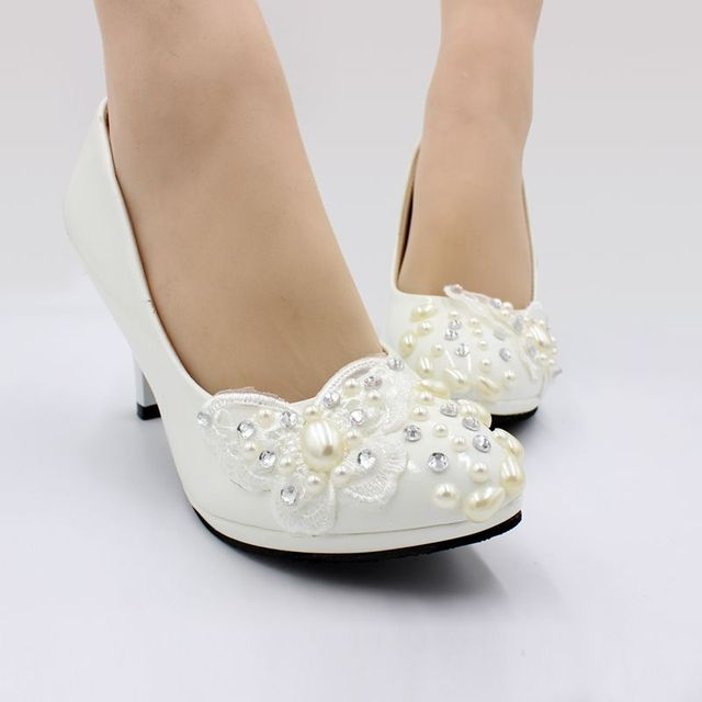 0c29eac1c3 US $31.5 30% OFF|3 inches high heels lace pearls womens wedding shoes  handmade NQ180 bridal wedding ivory pearls butterfly pumps shoes heel  8CM-in ...