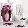 Розовая Полиэстеровая занавеска с принтом для девочек  набор для душа  африканские женские занавески с принтом  180x180 см  набор ковриков для в...