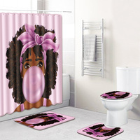 Pink Girl Printed Polyester Shower Curtain Set Africa Women Printed Bath Curtain 180x180cm With Bathroom Mat Set Drop Shipping