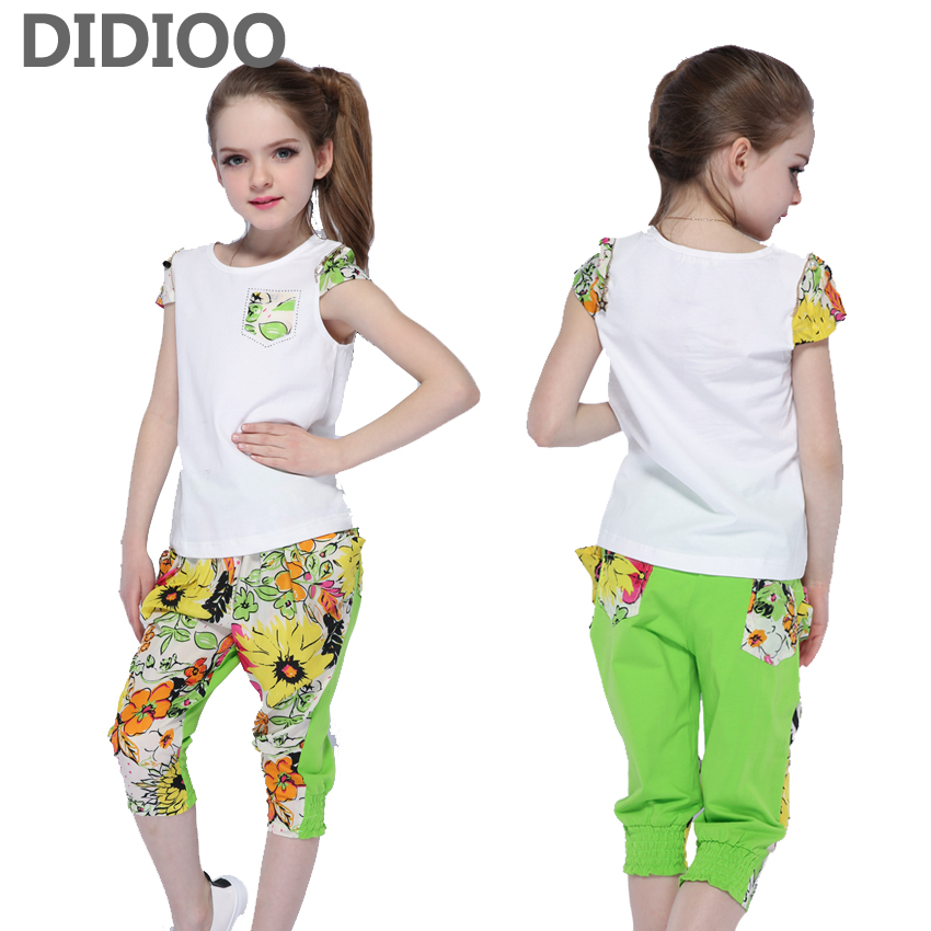 Girls Clothing Sets Kids Summer Outfits Children Short Sleeve Cotton T-shirts & Pants Suits Girls Print Floral Tops Shorts Sets girls in pants third summer
