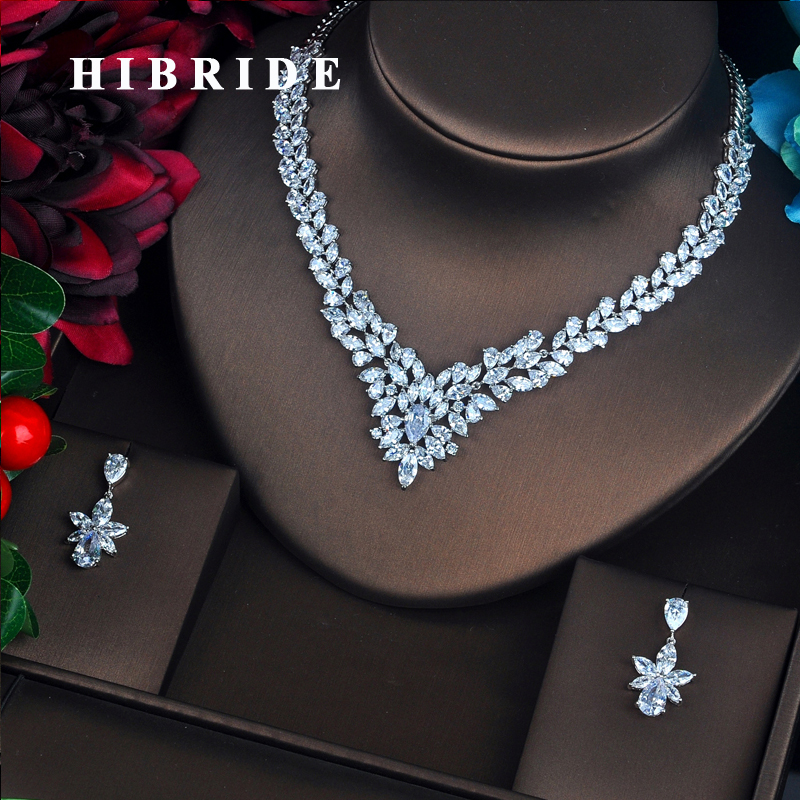 HIBRIDE Classic American Style Clear Stone Long 44cm Pendant Necklace White Gold Color Women Bridal Jewelry