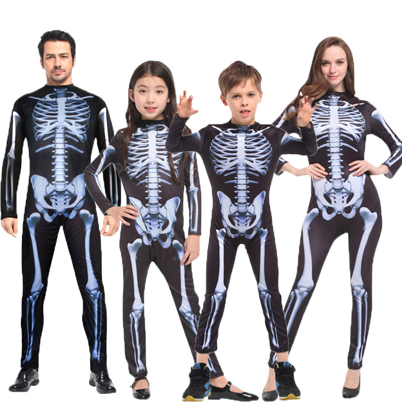 Umorden Halloween Carnival Party Costume Family Scary Demon Devil Skull Skeleton Costumes Jumpsuit For Men Women Kids Boy Girl