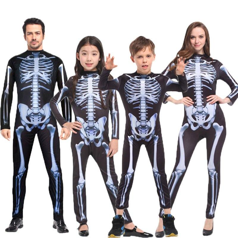 Umorden Halloween Carnival Party Costume Family Scary Demon Devil Skull Skeleton Costumes Jumpsuit For Men Women Kids Boy Girl