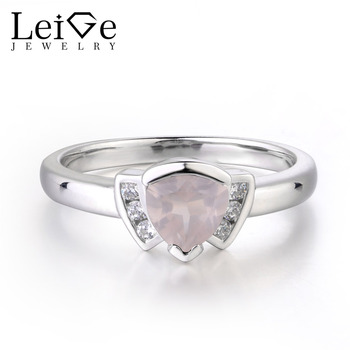 Leige Jewelry Natural Pink Quartz Ring Classic Gifts Engagement Rings Triangle Shape 925 Sterling Silver Fine Jewelry For Woman