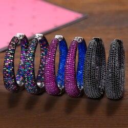 Godki 37mm na moda grande argola brincos círculo grande zircon cúbico brincos celebridade marca laço brincos para jóias femininas
