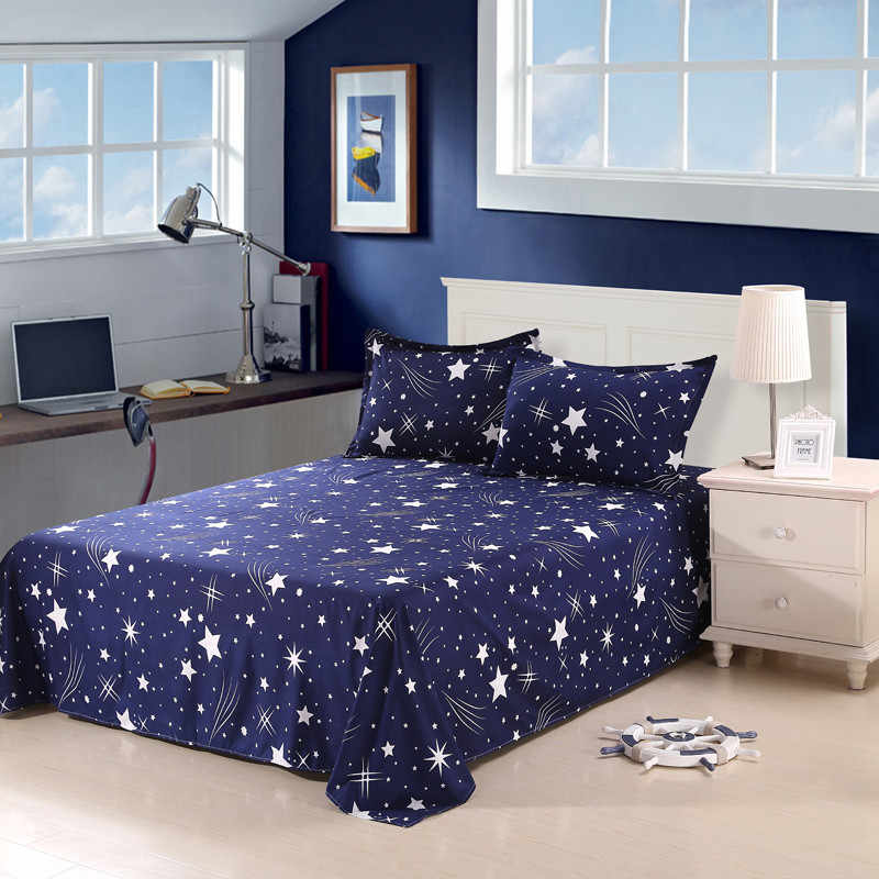 White Star Stars Empty Pattern 3 Piece Bed Sheet Flat Sheet Bedding Bed Sheets,High-Grade Bedsheet, Bedclothes Pillowcase 4 Size