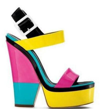 ФОТО Hot Selling Summer Name Brand Bright Colors Platform Buckle Chunky High Heel Sandals Lovely Candy Patch Ladies' love Shoes