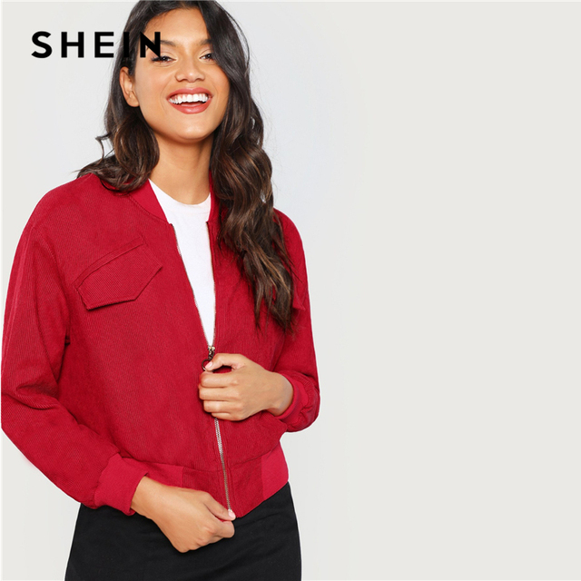 e6127e2a807e SHEIN Red Zip Up Solid Bomber Jacket Casual Stand Collar Plain Long Sleeve  Coat Women Athleisure