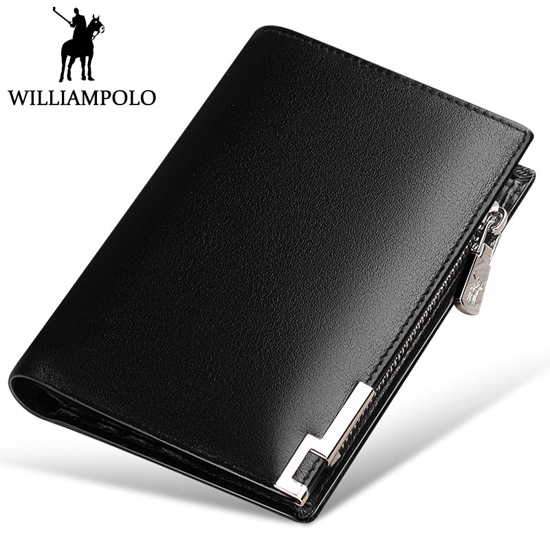 WILLIAMPOLO 2018 Slim Wallet Genuine Leather Men Small Short Purse Zipper Coin Pocket Removable Card Holder Design Classic Black new design 100% leather genuine male wallets slim short men wallet with zipper coin purse pocket soft leather card holder wallet