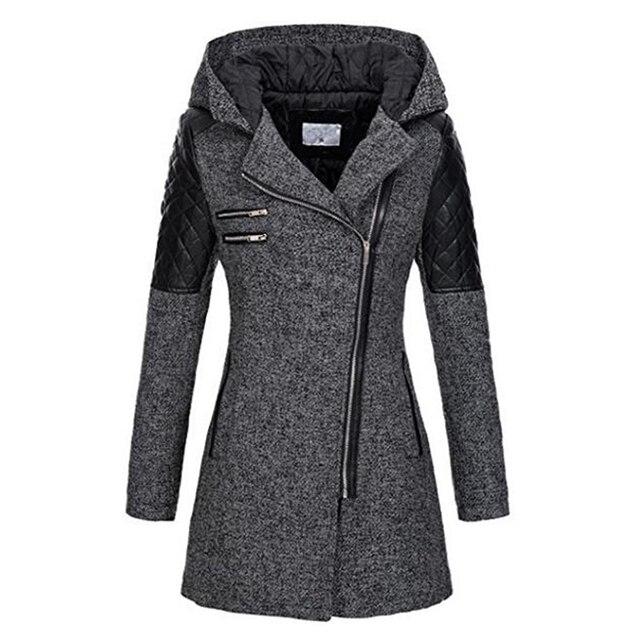 Женское зимнее пальто с капюшоном Осенняя тонкая верхняя одежда на молнии Весенняя модная Лоскутная черная женская теплая ветрозащитная верхняя одежда
