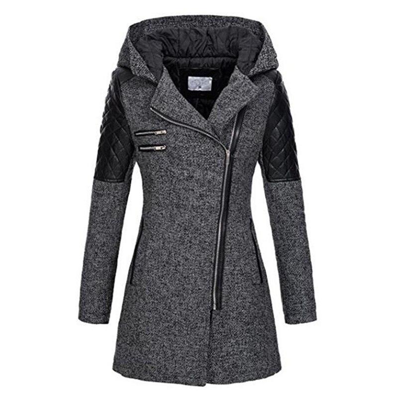 Abrigo con capucha de invierno para mujer otoño cremallera delgada prendas de vestir exteriores primavera moda Patchwork negro mujer abrigo abrigado a prueba de viento
