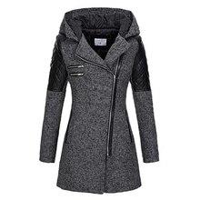 Женское зимнее пальто с капюшоном Осень молния тонкая верхняя одежда весна мода пэчворк черный женский теплый ветрозащитный пальто