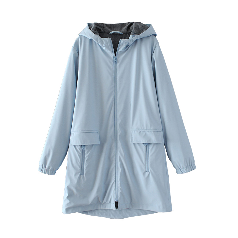 White Light Blue Rain-Proof Windproof Female PU Solid Pockets Hooded   Trench   Classic Slim Long Fashion Women Coat   Trench   Autumn